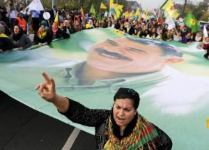 A large flag with the image of Ocalan in Germany